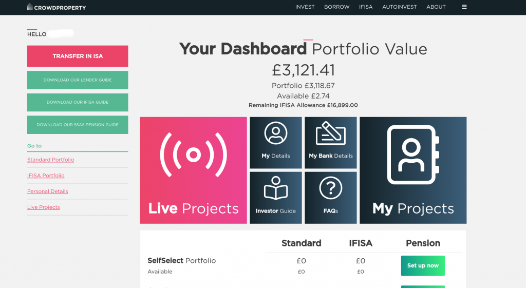 My CrowdPropert dashboard showing a folio value of £3121.41