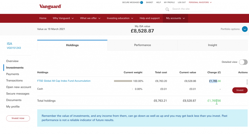 a cost of £6763,20 and a current value of £8528.86.